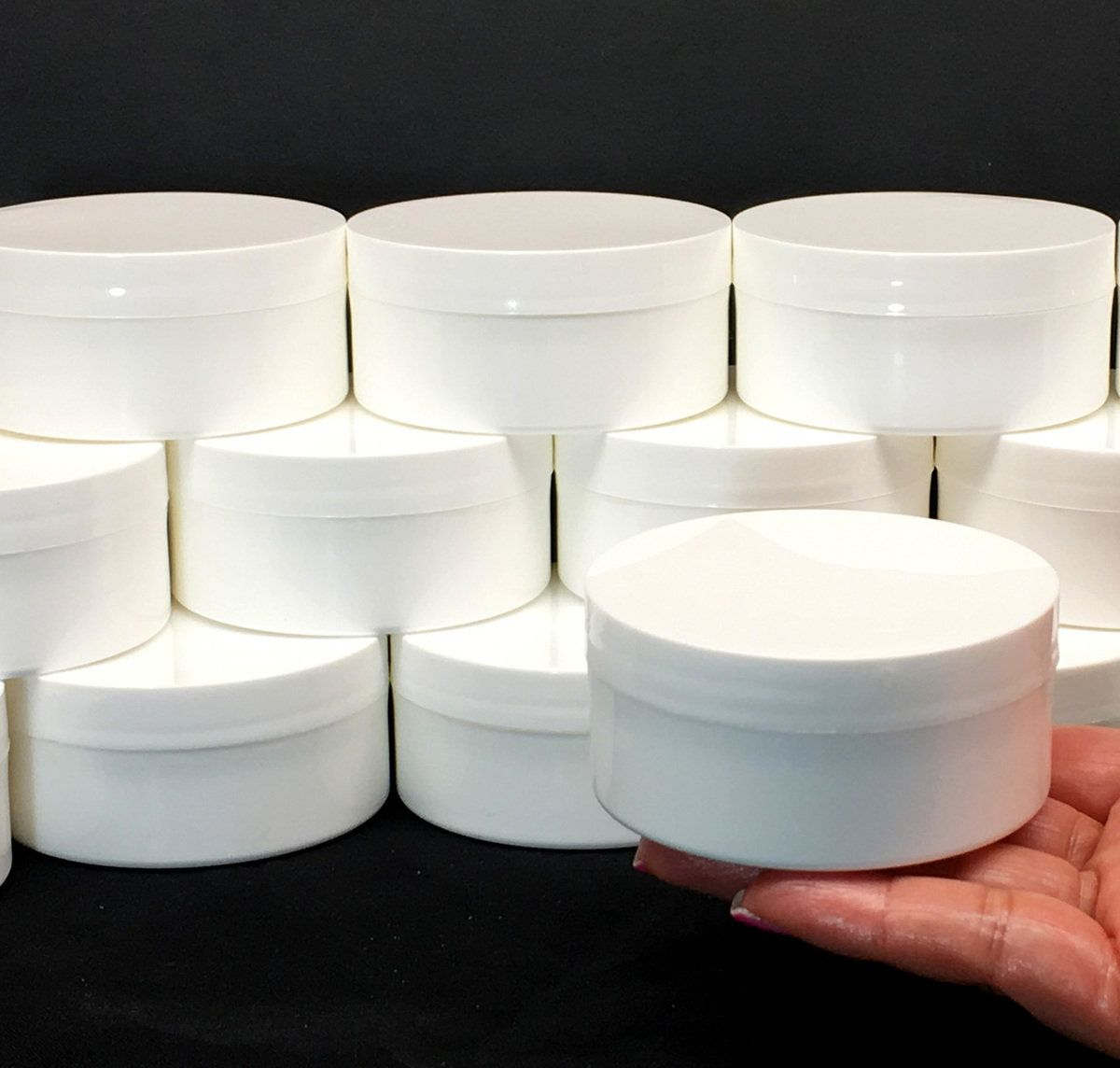 Plastic Jars Low Profile Wide Mouth Thick Wall White Containers 2 Oz White Black Cap 9332 9335 Diy Body Butter Cosmetic Containers Cosmetic Jars