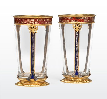 A pair of drinking glasses by faberg workmaster mikhail perkhin gold and silversmith from st petersburg worked exclusively for house of faberg head craftsman in charge of developing imperial easter gifts until negle Gallery