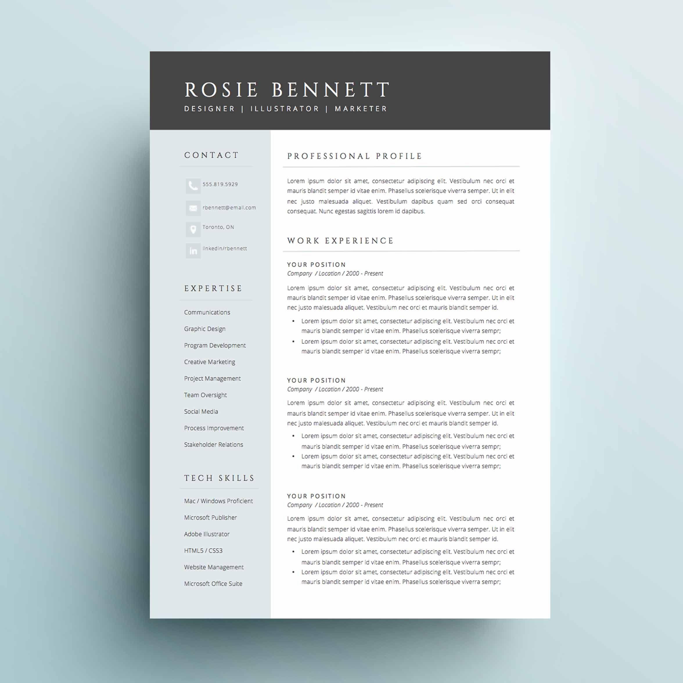 The Rosie Resume Cv Template Package For Microsoft Word
