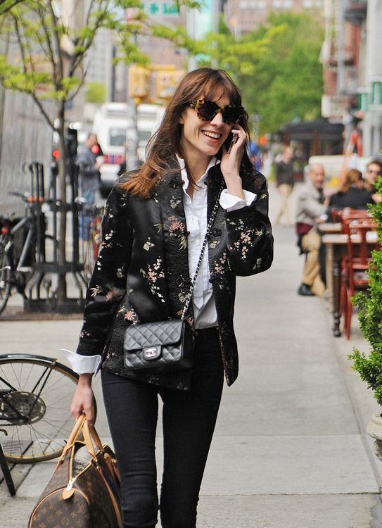 Alexa Chung carries a Chanel Mini Classic Flap Bag and Louis Vuitton Mon  Monogram Keepall Bag (1) 18c1ab23c