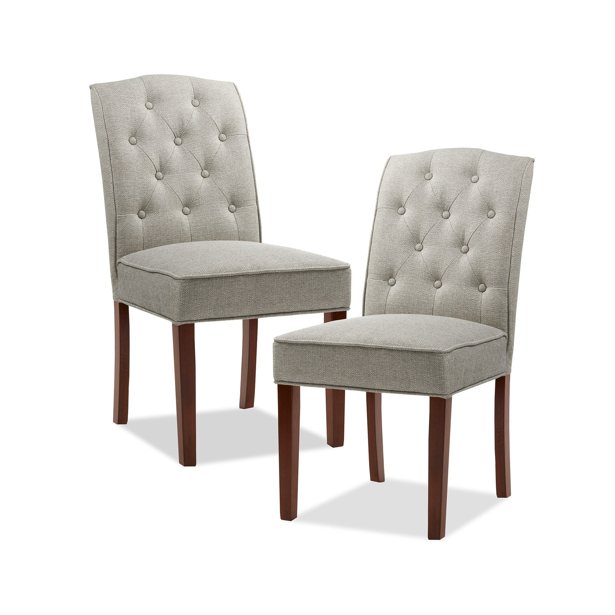 Set Of 2 Khloe Tufted Dining Chair Cream Gray Ivory Gray