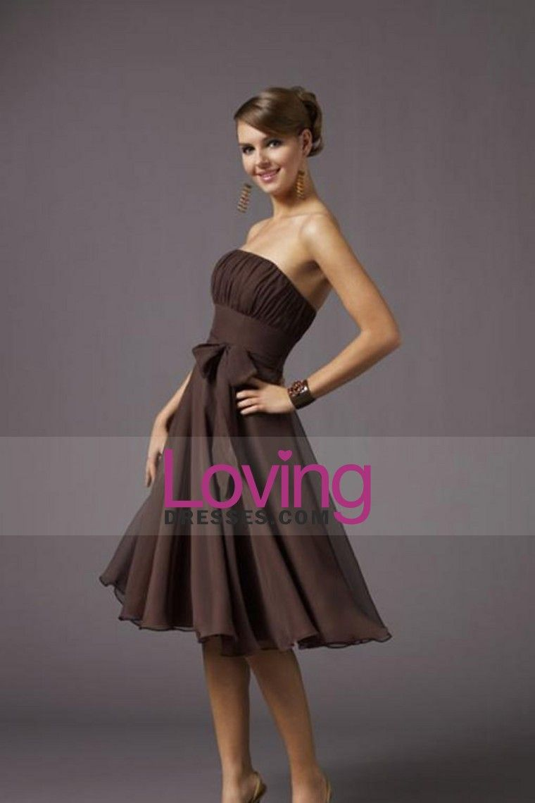 Bridesmaid dresses a line strapless knee length belt chiffon