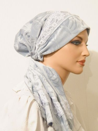 Pre-tied Headband Unitail Bandanna Snood Light Blue Velour Floral ...