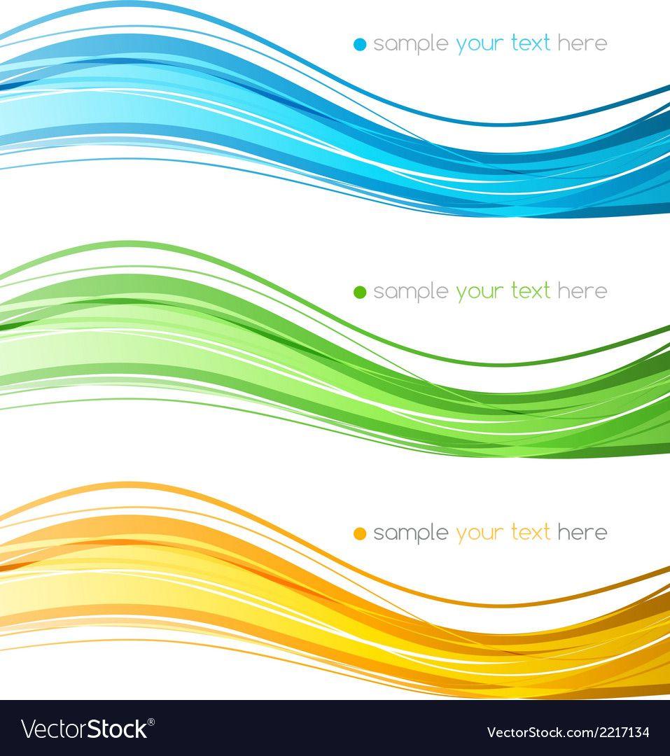 Set of color curve lines design element Royalty Free Vector