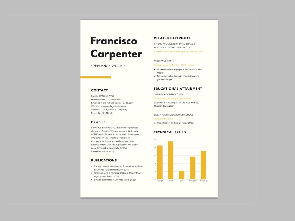 Free resume template for freelance writer with simple