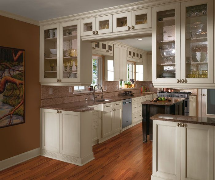 Off White Cabinets In Casual Kitchen Craft Cabinetry