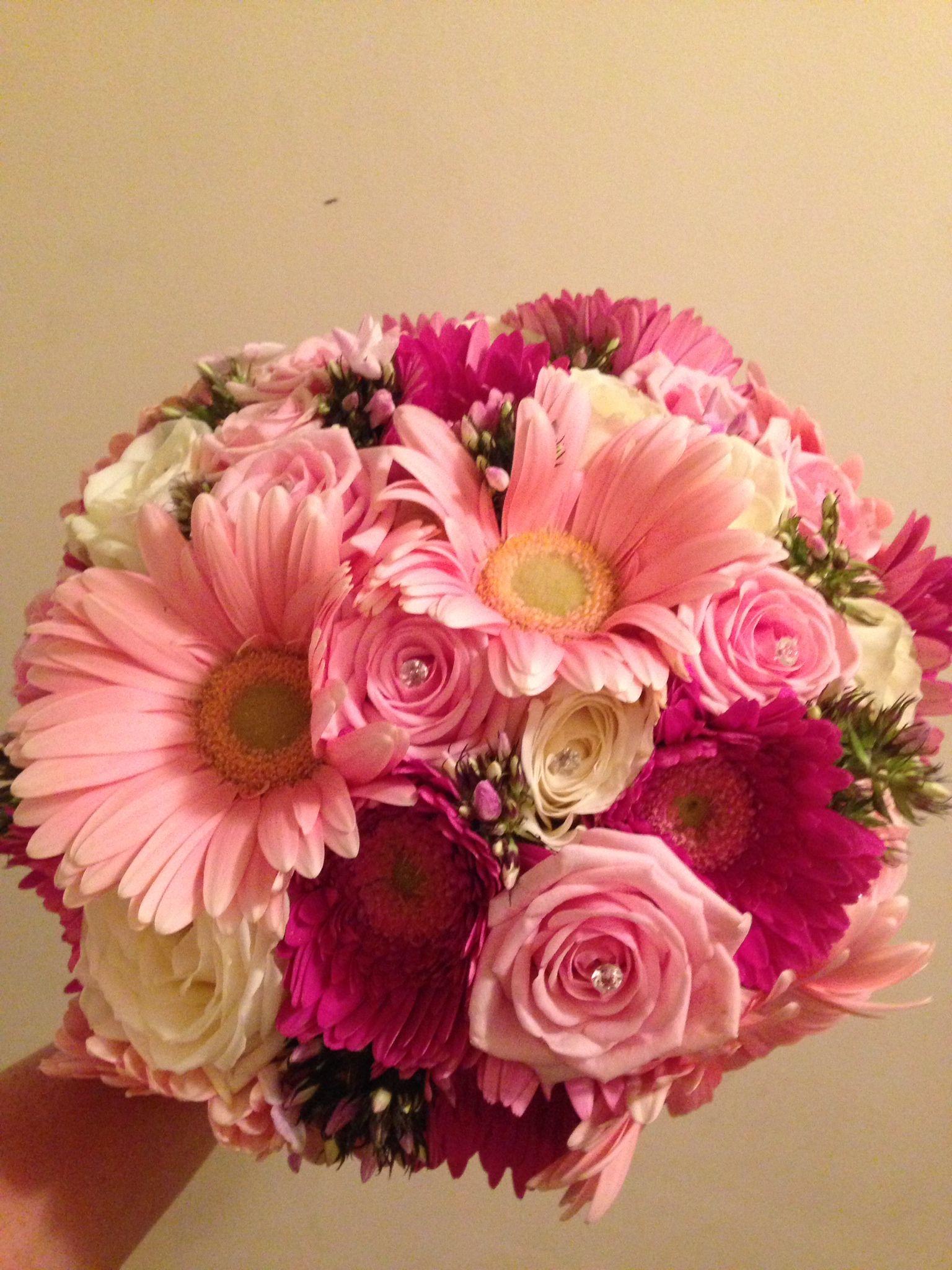 Hot pink and baby pink gerberas pink phlox and cream roses bridal hot pink and baby pink gerberas pink phlox and cream roses bridal bouquet mightylinksfo