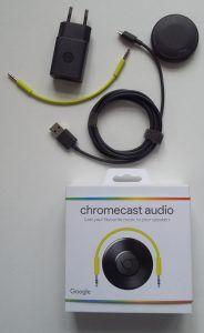 hvad er chromecast  Audio 25/4 - 2016  Chromecast Audio-æsken med indhold.