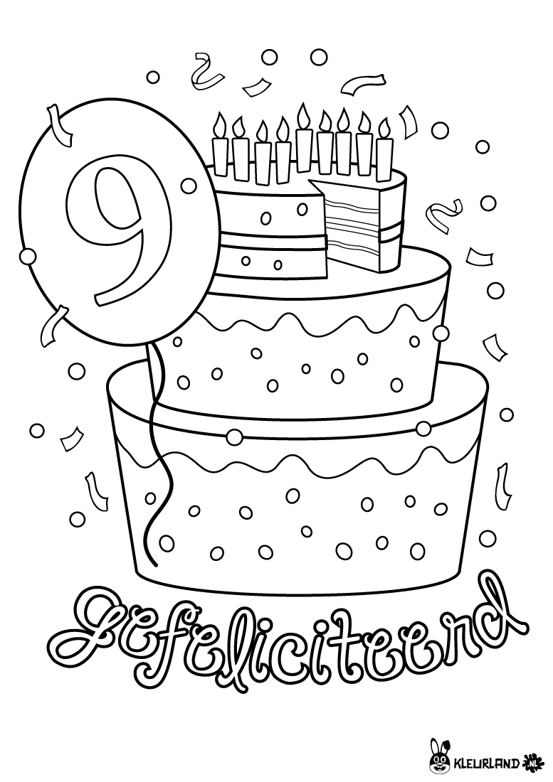 Kleurplaten Verjaardag 9 Jaar.Verjaardagstaart 9 Jaar Verjaardag Verjaardag Kronen En
