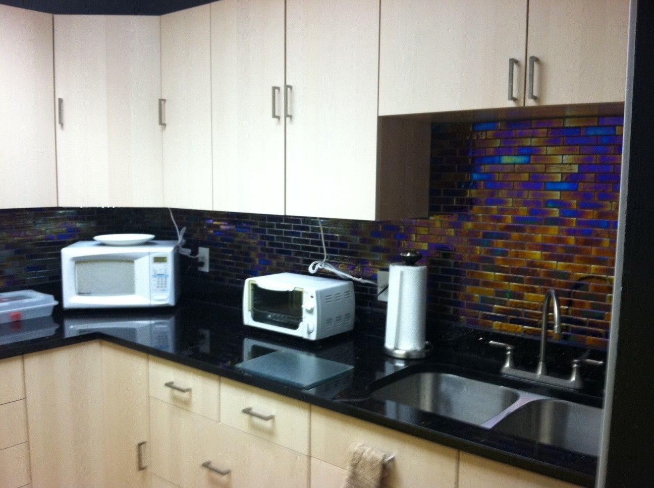 iridescent inkwell 1x4 brick glass tiles for the homeowner who