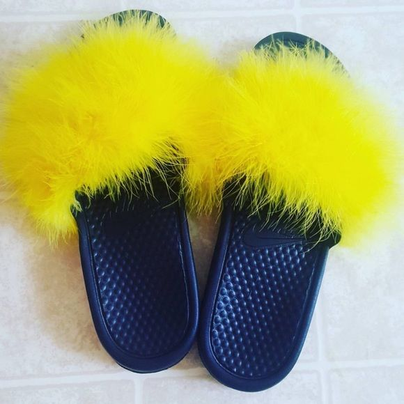 online retailer 078e7 8b214 Authentic Nike Slides With Custom Fur in Yellow. Best Accessory to Any  Outfit. Nike Shoes Sandals