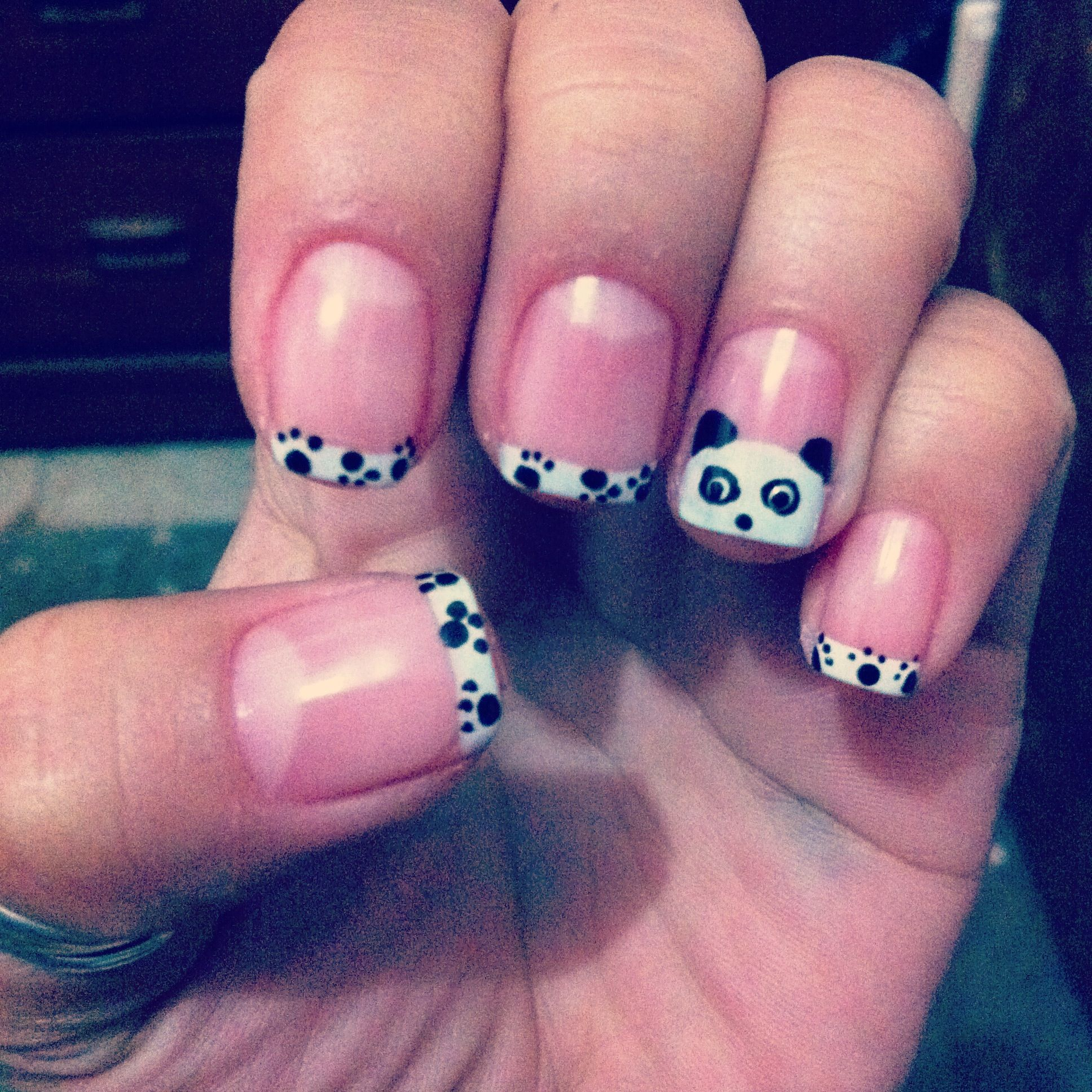 Cute Nail Art | ... black cute panda pretty white animal nail art ...