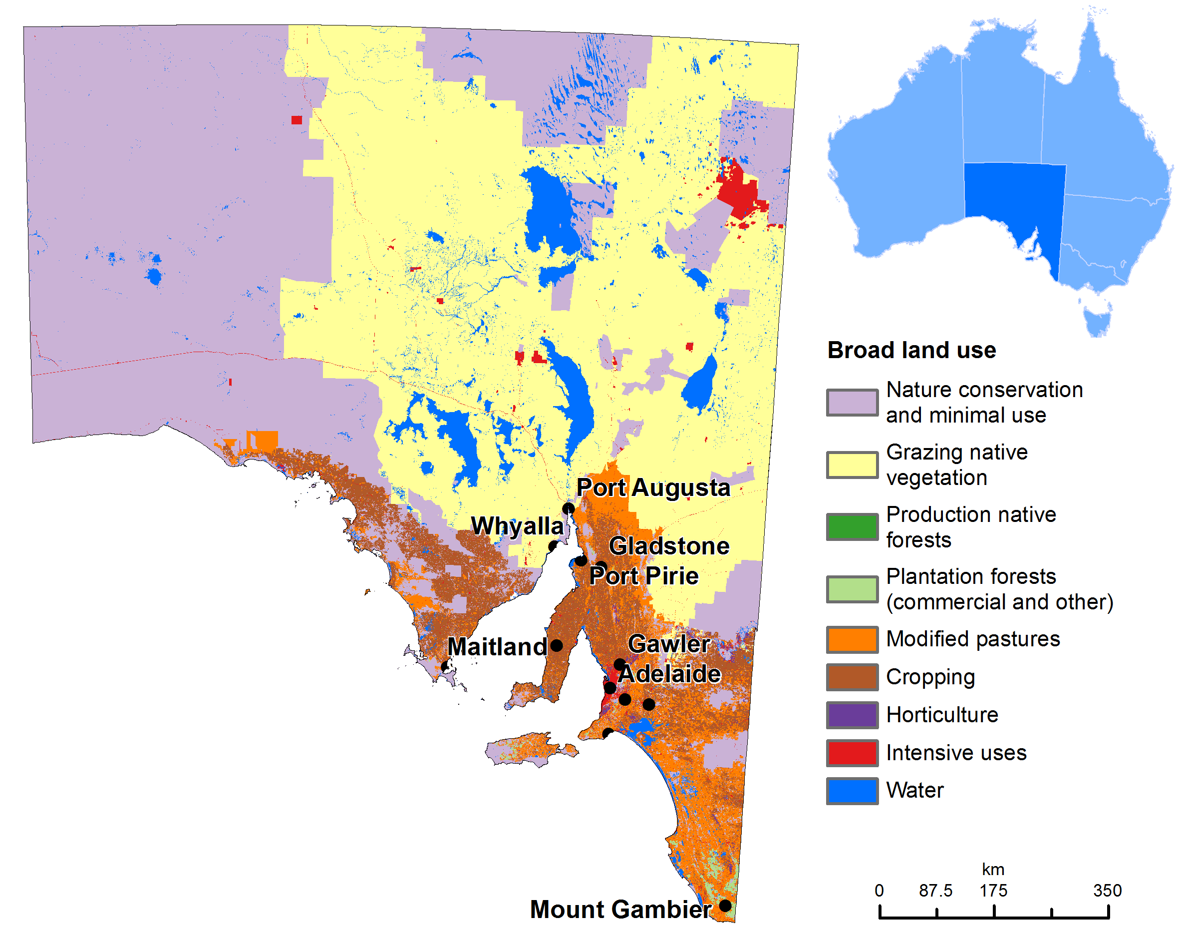 Australia Map Km.Land Use Map Of South Australia Australia Pacific Australia Map