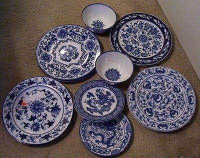 Taditional Tropical Home Bombay Blue u0026 White dishes Love this mix u0027n ... & Taditional Tropical Home: Bombay Blue u0026 White dishes Love this mix ...