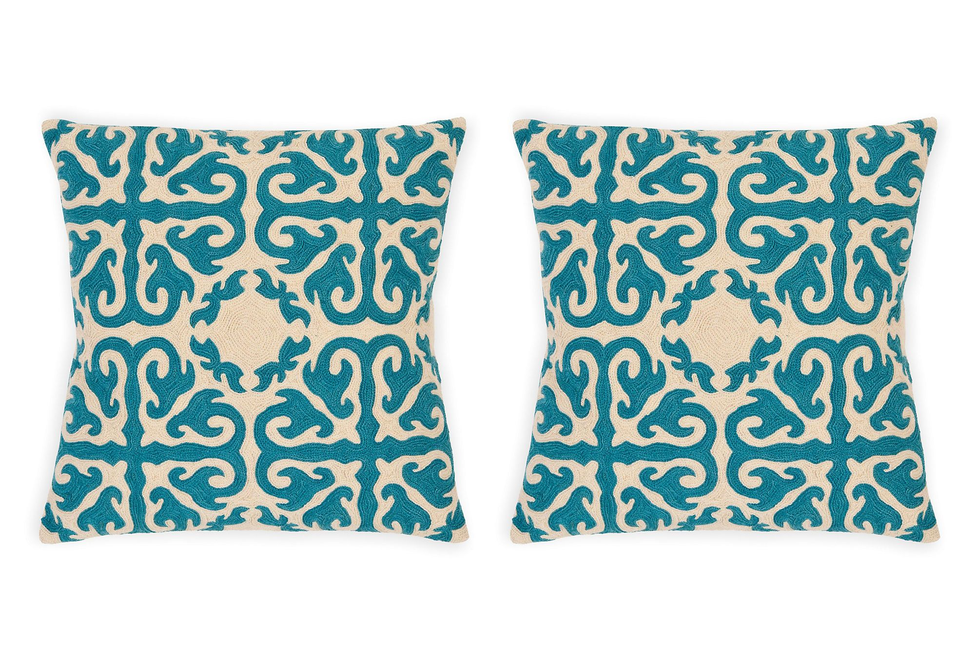 One Kings Lane - Affordable Accents - S/2 Moroccan 18x18 Cotton Pillows, Teal
