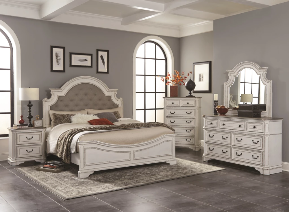 Farmhouse Rustic White King Bedroom Set In 2020 White Bedroom Set King Bedroom Sets Bedroom Furniture Sets