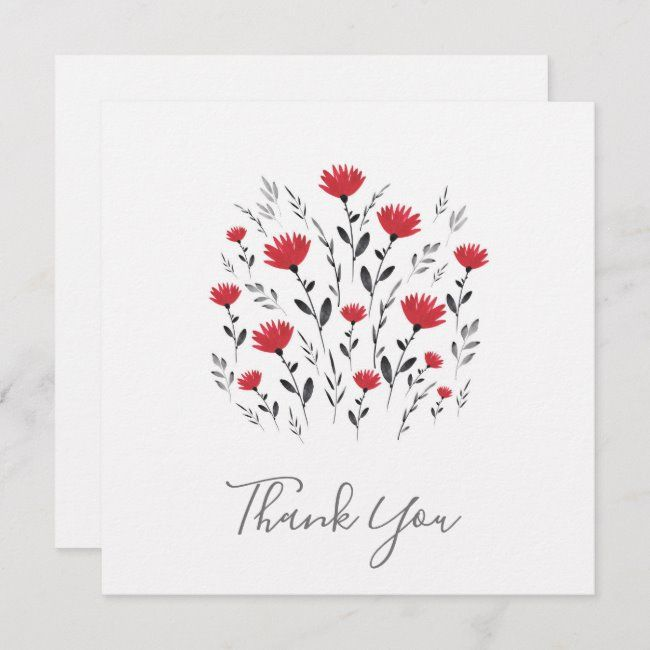 Modern Red Watercolor Floral Motif Thank You Card | Zazzle.com -   15 wedding Card watercolor ideas
