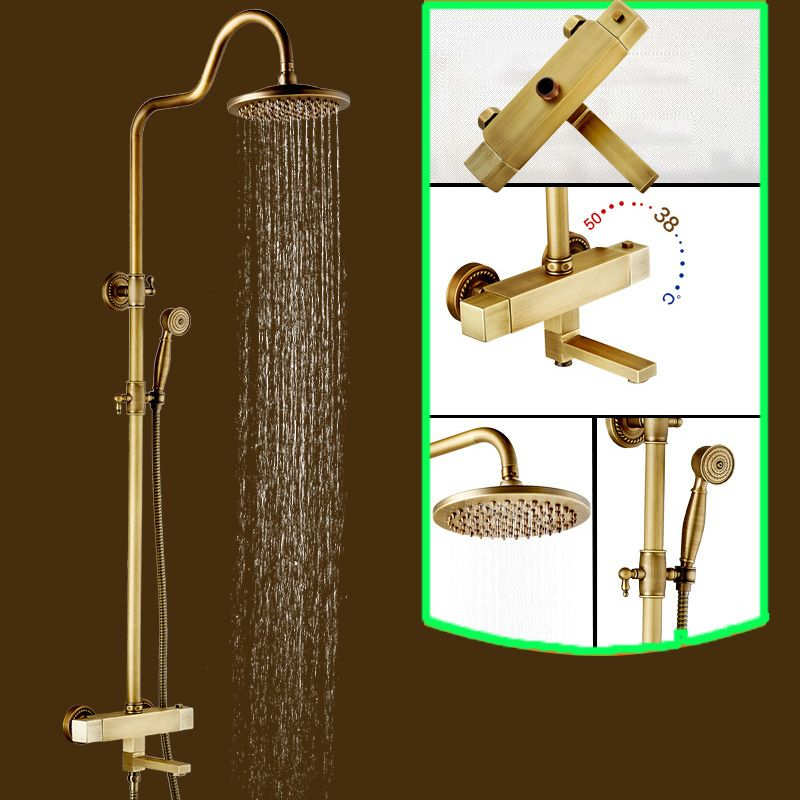 Brass Antique Two Handles 8 Rainfall Shower Head Rotate Tub Spout