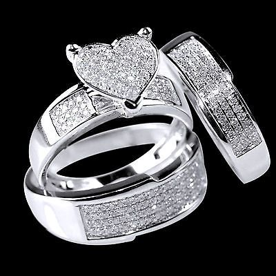 Diamond White Gold Heart Trio Set Wedding Engagement Ring For His And Her