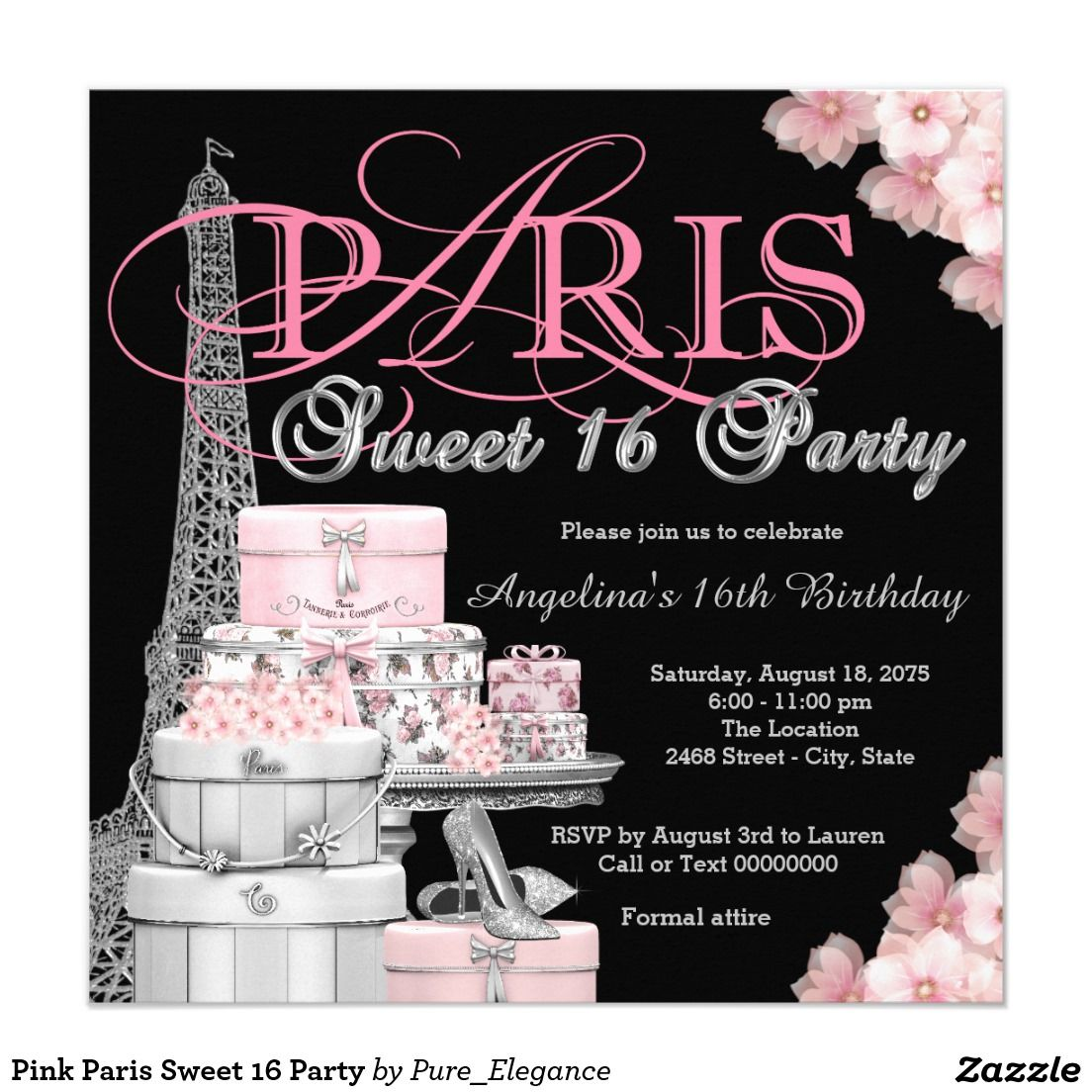 Pink Paris Sweet 16 Party Invitation | Sweet Sixteen Invitations ...