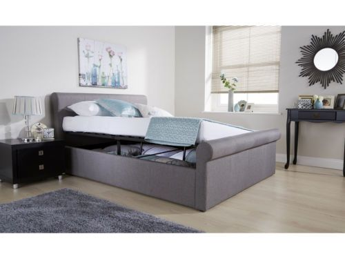 Sensational Details About Side Lift Ottoman Sleigh Bed Hopsack Fabric Andrewgaddart Wooden Chair Designs For Living Room Andrewgaddartcom