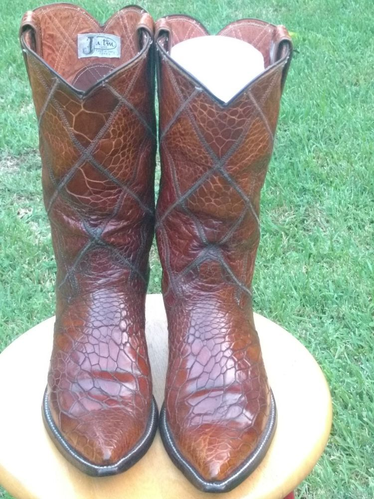 4ee45785d08 PRE BAN RARE EXOTIC JUSTIN FULL SKIN SEA TURTLE COWBOY BOOTS. MEN'S ...