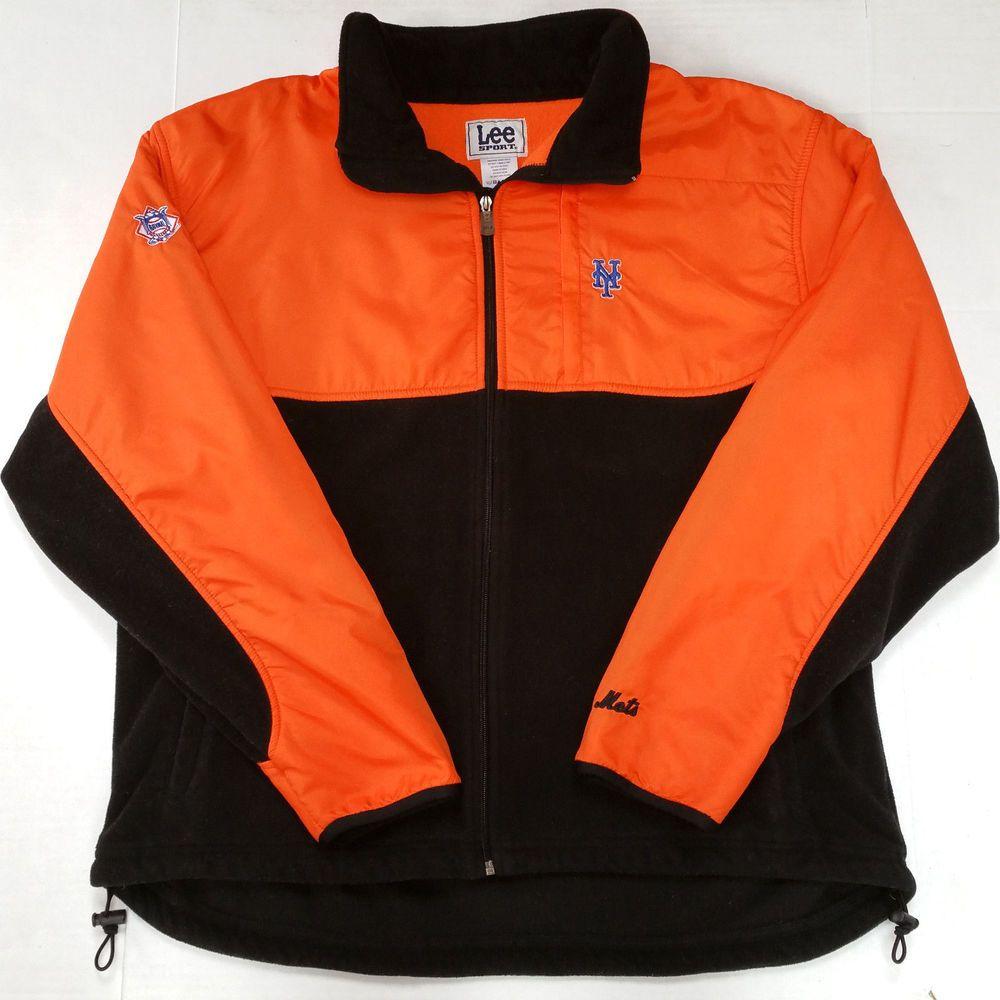 Vintage new york ny mets orange black fleece jacket mens xl