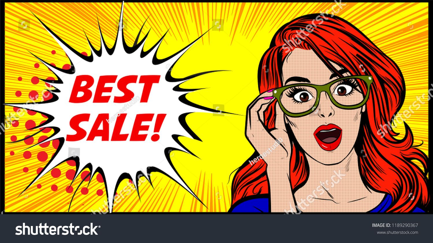 Vector Pop Art Illustration Of An Excited Happy And Surprised Smart Woman Shocked Expression And Open Mouth Pop Art Illustration Vector Pop Pop Art Background