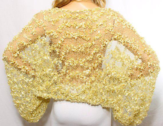 3a4ca204cc Wedding Shrug Knit Gold Shrug Cover Ups Shawls Wraps Long Sleeve ...