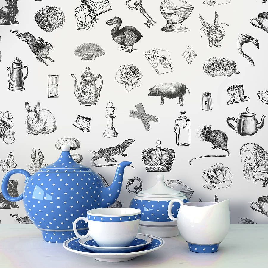 Alice In Wonderland Self Adhesive Wallpaper By Oakdene Designs Notonthehighstreet Possibly To Go Onto The Back Of A Little Shelf Unit Quinnsroom