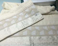Kit toalhas com barrado