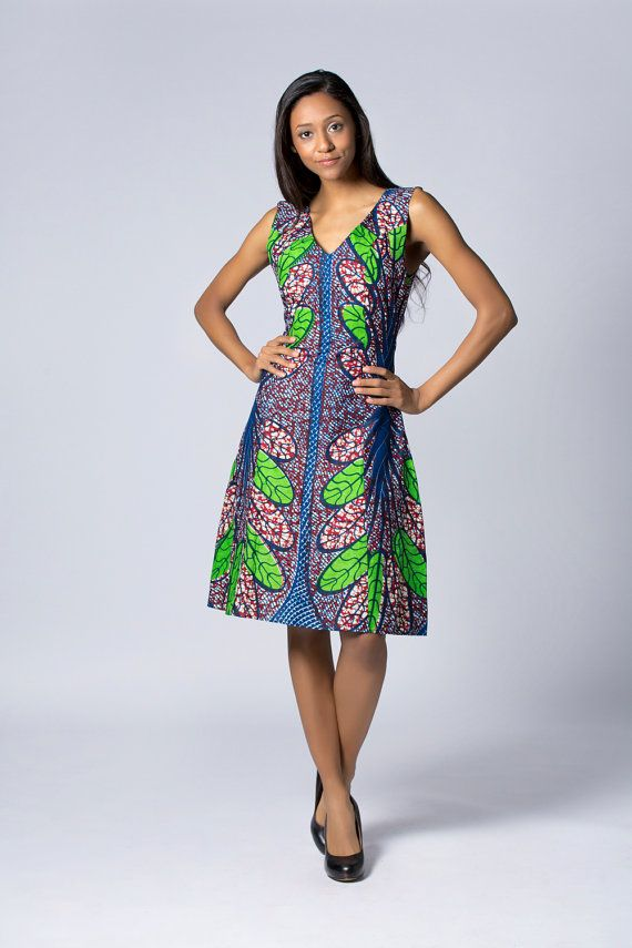 Green dress, Knee length Wax print Dress, Batik dress, African print dress,  Floral dress, African dress, Cotton Dress, Summer dress