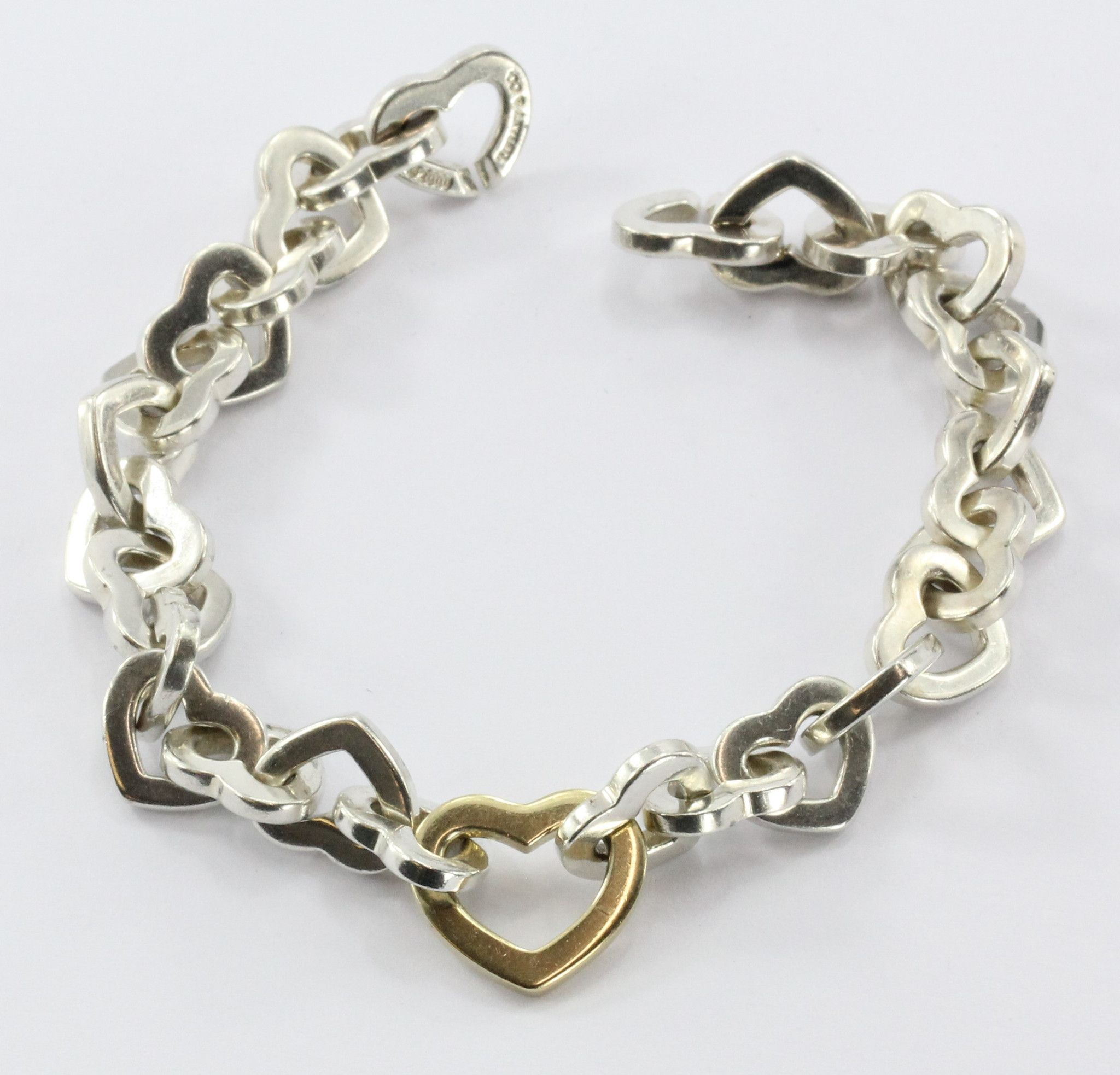 6ef21bdc7f9da Tiffany & Co Heart Link 925 Sterling 750 18K Gold Bracelet. The ...