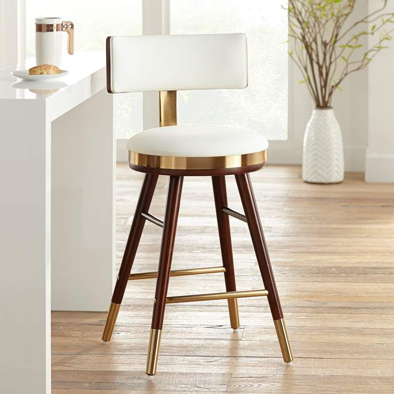Parker 25 1 2 White Leather Counter Stool 64g32 Lamps Plus Contemporary Counter Stools Leather Counter Stools Counter Stools
