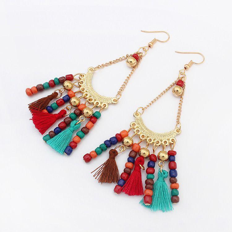 Heißer Indischen Stil Perlen Woolen Lange Troddel-tropfen Baumeln Ohrringe Vintage Ethnische Sommer Schmuck übertrieben Geschenk Frauen Böhmen
