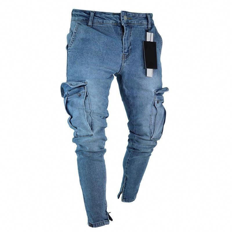 Mens Jeans Denim Pocket Pants Summer Autumn Thin Slim