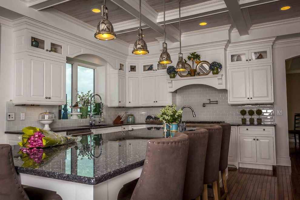 blue pearl granite countertops Kitchen Traditional with