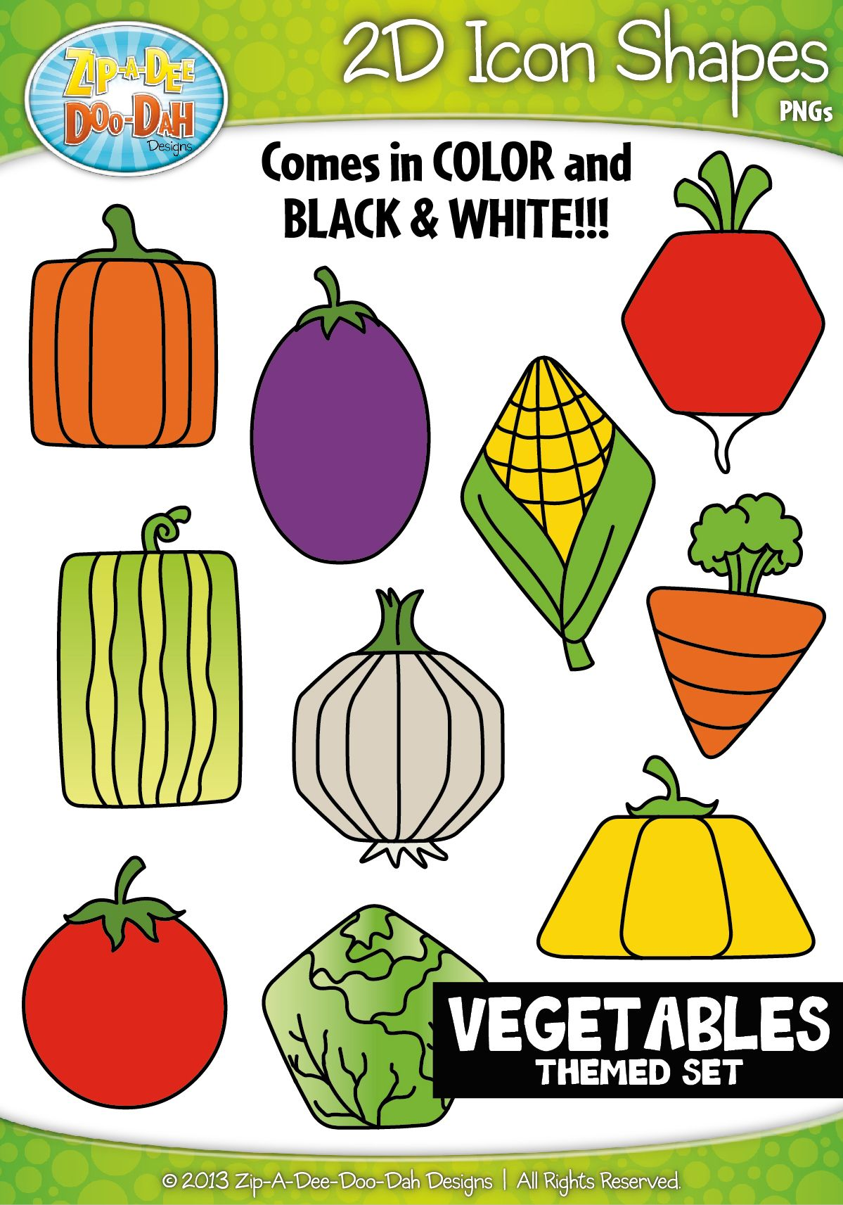 Vegetables 2d Icon Shapes Clipart Zip A Dee Doo Dah