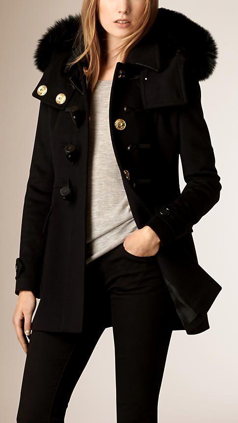 7d8277baf454 Noir Duffle-coat en laine avec bordure en fourrure de renard - Image 2
