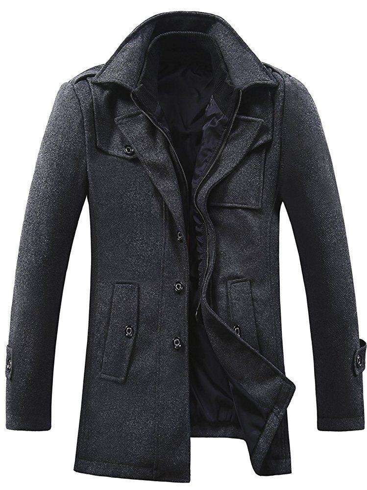 GARSEBO Men's Wool Blend Pea Coat Stand Collar Windproof