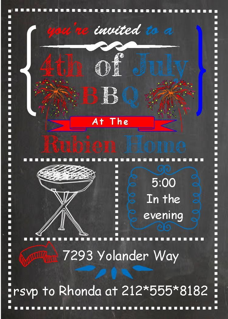 4th of July Party and Patriotic invitations chalkboard fireworks ...