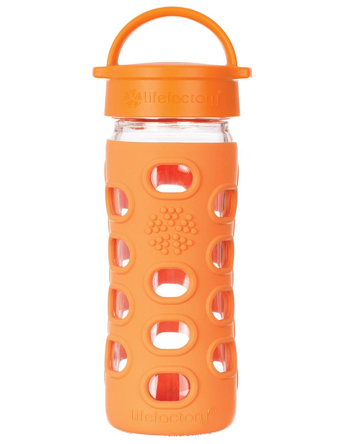 Lifefactory 12 Ounce Bpa Free Glass Water Bottle With Leakproof Cap Silicone Sleeve œaeorange C Fancy Water Bottles Bpa Free Baby Bottles Glass Baby Bottles