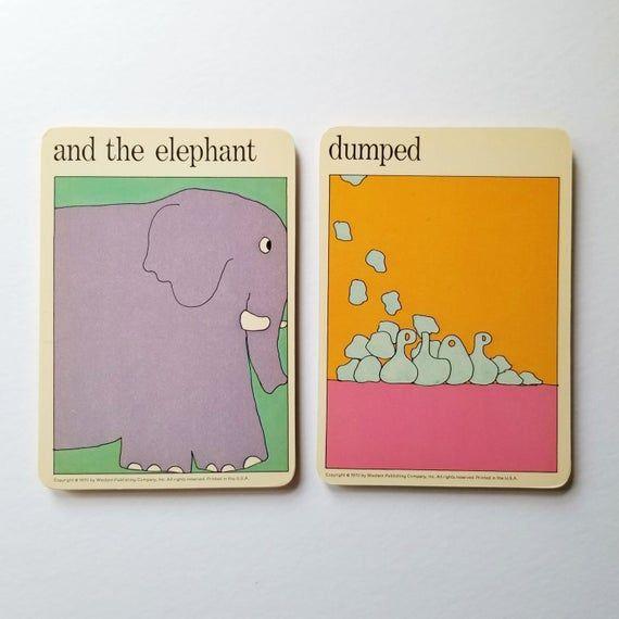 the elephant dumped – Vintage MOMA Art Cards – Zoo Animal Art – Bathroom Wall Decor – Typography Art – Museum of Modern Art Flash Cards