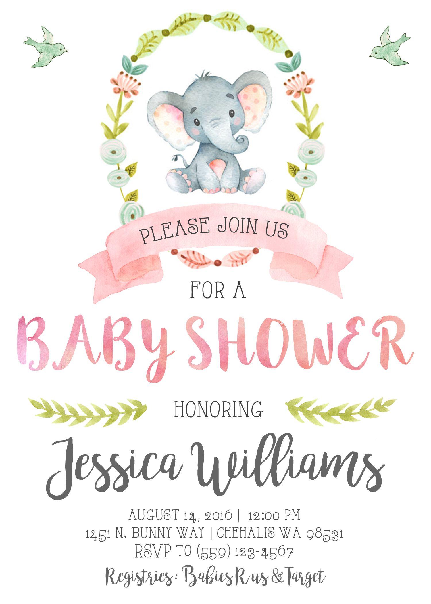 Elephant Baby Shower Invitation Invite Pastel Watercolor Vintage
