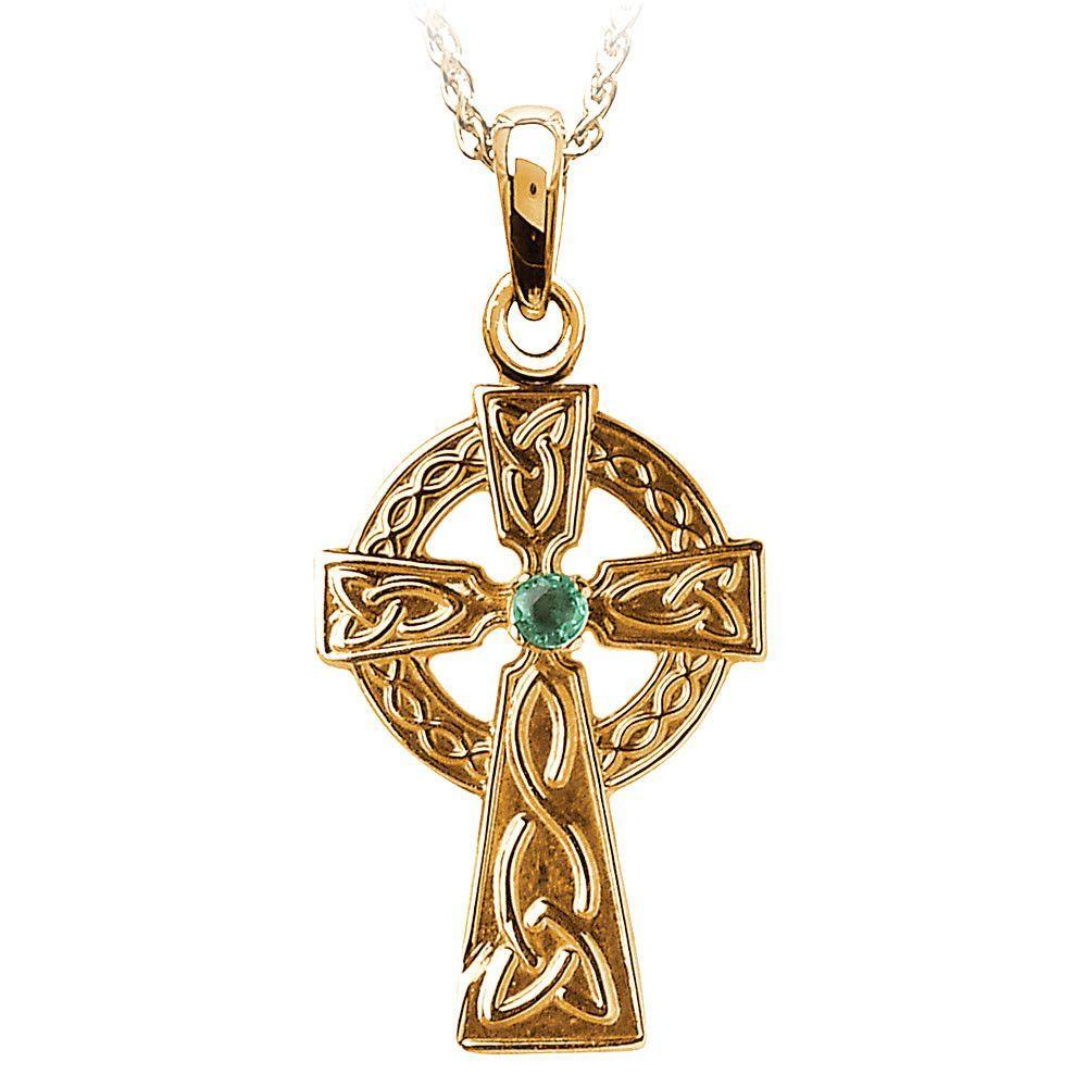 Gold Emerald Set Celtic Cross Pendant Necklace Emeralds Cross