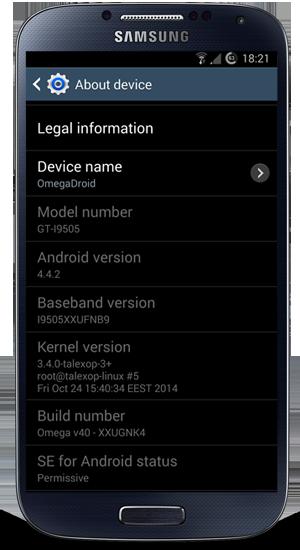Omega Rom v40 for Galaxy S4 I9505 Android 4 4 2 Kit Kat