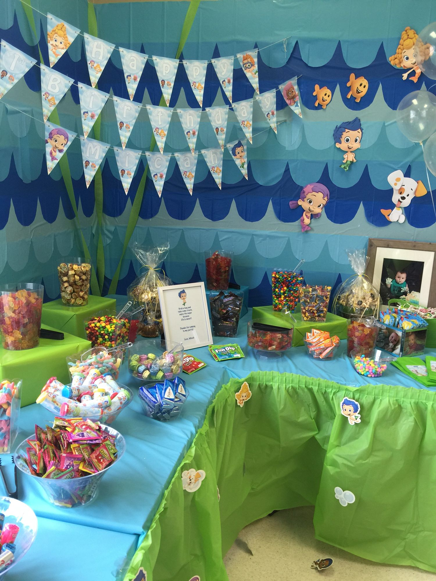 Candy Table Bubble Guppies First Birthday Party First Birthday Kids Birthday Par Bubble Guppies Birthday Party Kids Birthday Birthday Party Candy Table