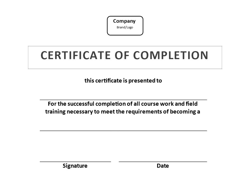 The Fascinating Certificate Of Training Completion Example