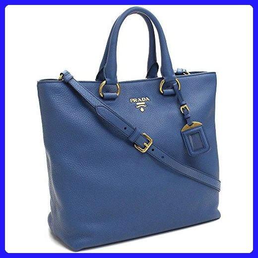 f1880777df6c ... hot prada vit vitello daino cobalto blue pebbled leather shopping tote  handbag with shoulder strap bn2865 ...