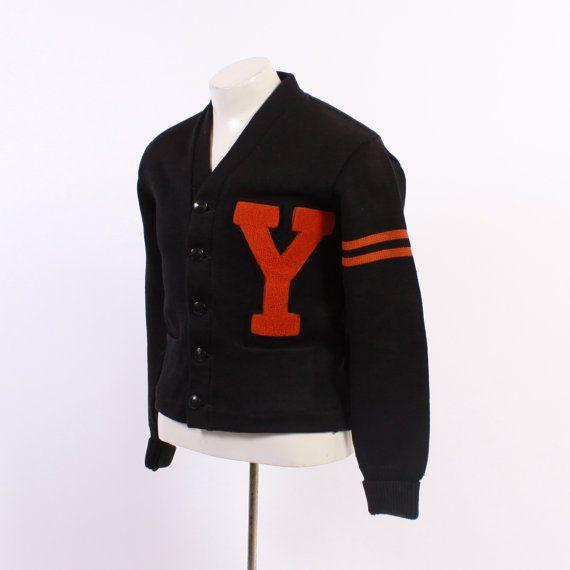 1940s Men 39 S Wool Varsity Cardigan Vintage 40s Orange Black Wool Letterman Sweater S M Varsity Cardigan Letterman Sweaters Mens Cardigan